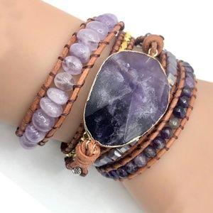 handmade Pendant Amethyst bead wrap bracelet blues